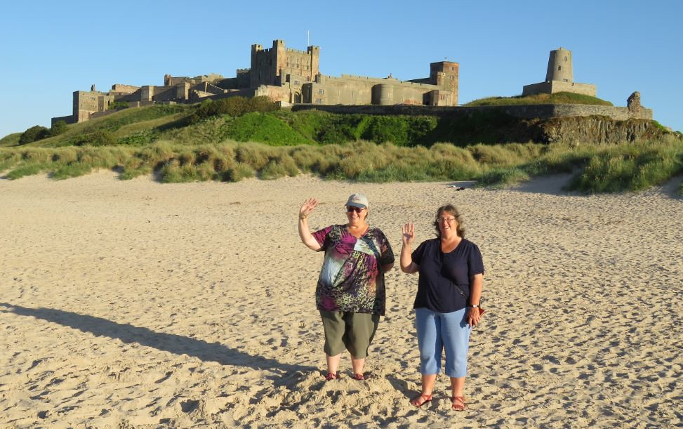 180708 Bamburgh Castle, 7.45pm Jane & Sue on the beach
