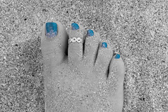 062118Hollywood_6601 (WindJammer Photo) Tags: june 2018 canon 2470mml 60d outdoor portrait sand beach ocean water hollywood florida vacation feet toe toering polish anklet beauty beautiful gorgeous blonde wife blackandwhite bw