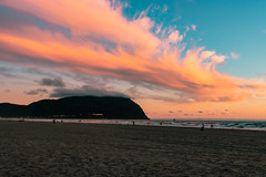 Pink Skies (twahl8) Tags: sunset ocean sand beach coast pacific oregon pink waves moutain landscape canon