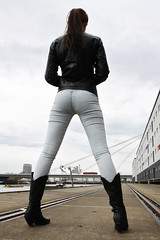 Natalie 82 (The Booted Cat) Tags: sexy teen girl model tight jeans denim leather jacket boots cowboyboots