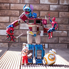 The New Guy Has Arrived (Jezbags) Tags: transformer optimusprime prime optimus stitch deadpool spiderman mario bb8 starwars marvel marvelstudios nintendo fox disney toy toys macro macrophotography macrodreams canon canon80d 80d sphero hottoys shfiguarts nendoroid
