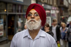 Pride (Leanne Boulton) Tags: portrait shirt people urban street candid portraiture streetphotography candidstreetphotography candidportrait streetportrait streetlife man male face eyes expression look emotion mood feeling closeup sikh turban colourful red pride proud gentleman distinguished vibrancy beard tone texture detail depthoffield bokeh bokehlicious naturallight outdoor light shade city scene human life living humanity society culture canon canon5d 5dmkiii 70mm ef2470mmf28liiusm color colour glasgow scotland uk