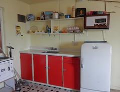 Retro Kitchen (mikecogh) Tags: auckland display newzealandmaritimemuseum kitchen fridge cupboards shelves wireless radio retro oldfashioned