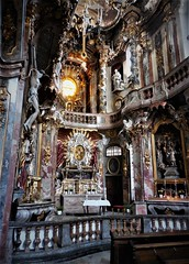 Asam Church (2) (SM Tham) Tags: europe germany munich sendlingerstreet asamchurch stjohannnepomuk stjohnofnepomuk church building interior baroque architecture asambrothers nave altar art painting sculpture light pews