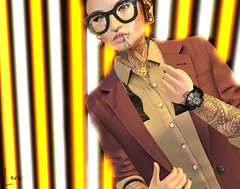 22. (Inaudible Inspiration) Tags: second life sl photography photomanipulation photoshop pictures edit finger glasses androgynous suit come here smoke cigarette neon lights