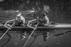 Summer Scenes. (4 of 6) (+Pattycake+) Tags: women opposites baseballcaps river street people water oars reflection boat oar ely rowing summer sunshine exercise happy
