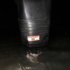 First step (essex_mud_explorer) Tags: uniroyal century rubber thigh boots waders hip thighboots thighwaders rubberboots rubberlaarzen gummistiefel cuissardes watstiefel water wading paddling