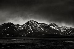 Depiction Of Light 3 (pni) Tags: monochrome through cloud view landscape mountain hill fell tree snow sky road365 frombuswindow is18 iceland ísland pekkanikrus skrubu pni