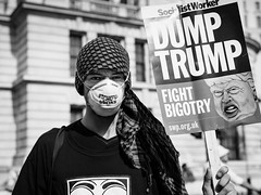 Dump Trump (Sean Batten) Tags: london england uk europe streetphotography street blackandwhite bw person candid protest trump protester protestor march demonstration city urban nikon df 50mm