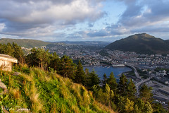 Bergen - Fløyen Mountain. Norway (Melvin Debono) Tags: travel photography bellevue bergen hordaland view city centre from fløyen norway is one mountains fløyfjellet name mountain top it 399 m above sea level looking over melvin debono sky landscape road water grass hill building sunset