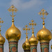 Golden domes of the Upper Saviour Cathedral at Kremlin in Moscow