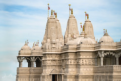 Hindu Mandir in the sky (Wits End Photography) Tags: people marble sky bluesky architecture temple hindu blue building clear cloudless religious sacred structure sunny wat worship