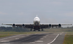 Cross-wind departure (Treflyn) Tags: crosswind departure emirates airbus a380800 a380 388 a6euz take off birmingham international airport flight ek40 dubai bhx dbx strong wind aircraft runway centre line