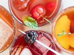 Summer Drinks photo by Jackie Alpers for Food Network (Jackie Alpers) Tags: jackiealpers food drinks cocktails fruit icedtea summer colors glassware recipe foodnetwork berries tea spicy mixes mixed ideas garnish cold colorful alchohol ice