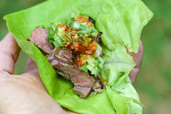 Skirt Steak Ssam (joshbousel) Tags: asian beef bibblettuce condiment cuisine eat food gingerscallionsauce grilling kimchi korean lettuce meat meatwave sauce skirtsteak skirtsteakssam ssam ssamsauce steak vegetable