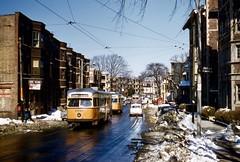 MTA PCC 3035 OB SouthSt STMarkSt 3-19-1959cf (ironmike9) Tags: bostonma t mbta mta transit publictransit trolley streetcar pcc track rail lightrail city tram