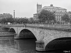 Around Notre-Dame (Jean S..) Tags: bridge water river seine notredame buildings bw blackandwhite monochrome stone