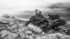 Wrecked (Jose Matutina) Tags: ss dominator tractor crane black white palos verdes san pedro california abandoned