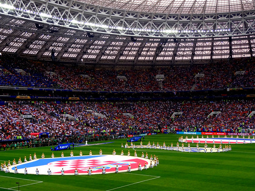 Croatia and France flags on the pitch ahead of the 2018 World Cup Final