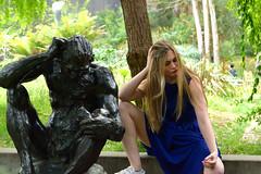 Emelia 29 (TheseusPhoto) Tags: blonde hair pretty girl dress beautiful california portrait portraiture silly copy fun statue thinker doppleganger