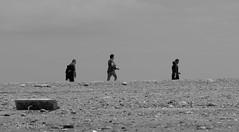 WALKERS on WASH-OVER, SPURN, E YORKSHIRE_DSC_9706_LR_2.5-2 (Roger Perriss) Tags: spurn sea seaside d750 shingle beach walkers walking blackandwhite bank spurnhead debris washover