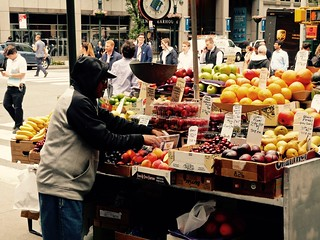 Fruit stand seller