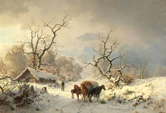 Ludwig Munthe – private collection. Large Winter Landscape with Horse and Cart (1863). (lack of imagination) Tags: 10001500 animals blog cart house ludwigmunthe privatecollection trees winter