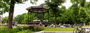 Playing on the bandstand in Oosterpark, Amsterden