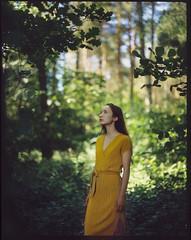 Paulina (Maciek Lesniak) Tags: female color portrait slide film provia pentax 6x7 takumar 10524 green dress forest 120