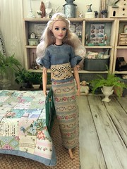 I was playing around with my sewing machine, inspired to try to sew some clothing. I thought the outfit had a neat, Asian, look to it. My Big Guy said it looked like she was wearing a rolled up rug! 😂😂😂 (JunqueDollBoutique) Tags: barbie convention couture 2017 japan junque chic doll bedroom diorama dio quilt bed ooak handmade michelle loves boutique shop store playscale miniature 16