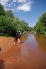ordell, heather, mike at oak creek (EllenJo) Tags: sedonaarizona oakcreek july6 heather heathersvisit sedona summerinaz pentaxks1