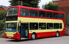 Now in fleet livery is Pilkington Bus, DAF East Lancs Myllennium Lowlander FD02UKJ awaiting its vinyls and advert at the depot in Accrington. (Gobbiner) Tags: fd02ukj pilkingtonbus myllennium daf arrivamidlands 4723 accrington mtravel eastlancs lowlander stanleygath