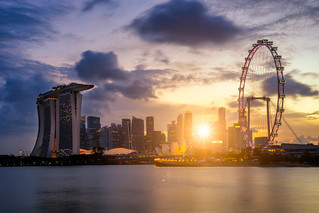 Landscape of the Singapore landmark financial district at sunset