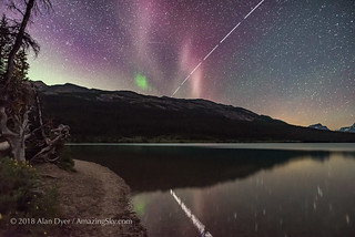 STEVE Aurora over Bow Lake with the ISS