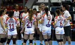 Las Guerreras de Imanol Álvarez, en un encuentro en el Campeonato del Mundo de Hungría.