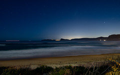 Seascape at Night (Merrillie) Tags: night stars nighttime newsouthwales sea uminabeach longexposure beach astronomy ocean umina dark sydney nsw sky seascape nightscape centralcoast water australia