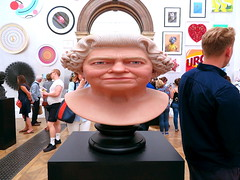 Summer Exhibition at the RA, 2018 (Snapshooter46) Tags: thequeen queenelizabeth sculpture bust ra royalacademy artexhibition snapshot london 2018 people pictures paintings