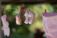 (rc_97) Tags: daughter dad mom pregnant up hang hangup little shoes 50mm clothespin clothes bootees girl pink summer shower baby babyshower