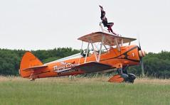 SE-BOG (1) (goweravig) Tags: sebog aerosuperbatics visiting aircraft wingwalkers swanseaairprort 1 boeing stearman kaydet biplane swansea wales uk