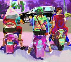 ebike riders in China. everyday life in China. digital art with ArtRage 4 (Naomi Chung's Daydream Art) Tags: artrage expressionism digital art ebike riders everyday people life china