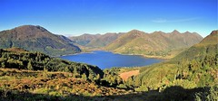 That Ratagan view (OutdoorMonkey) Tags: ratagan view viewpoint scenic scenery scotland highlands fivesisters kintail 5sisters lochduich forest wood woodland mountain mountains ridge peak summit munro sgurranairgid beinnfhada sgurrnamoraich sgurrfhuaran glenshiel outside outdoor evening countryside sunshine bluesky cloudless natural nature pano panorama panoramic