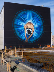 The Lost Ballerina (Steve Taylor (Photography)) Tags: art black blue building canterbury cbd christchurch city graffiti mural newzealand nz southisland streetart wall tutu ballerina armaghstreet owendippie issactheatre royal ballet rise 2013 oiyou bowing foundations rebar construction metal rust workman