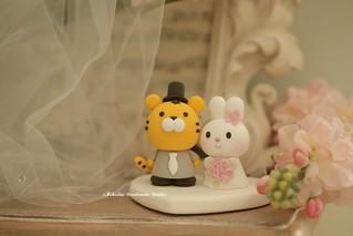 Handmade rabbit, bunny and tiger bride and groom custom wedding cake topper, cute animals wedding cake decoration ideas