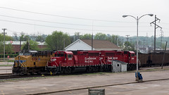 UP and CP Locomotives (string_bass_dave) Tags: train iowa clinton railway locomotive railroad davenport unitedstates us coal car flickr