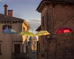 sunset in labin (Tina Grdic Kukulic) Tags: europe croatia istra labin oldcity umbrella sunset scenic clock belltower summer colorful albona istria