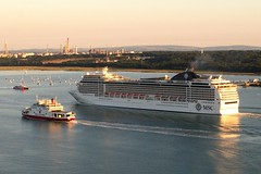 MSC Magnifica, red funnel, red jet, fawley backdrop (thephantomzone2018) Tags: water weston england red thephantomzone2018 hythe unitedkingdom liner phantom p4p port aerial abp above southampton ship solent dji drone docks dock departure ferry funnel gb jet cruise cruises cruising msc magnifica