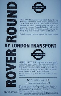 London transport 1964 Red & Green Rover ticket advert.