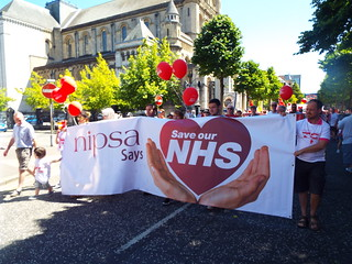 NHS 70th Birthday - Trade Union celebration and protest march - Belfast June 2018