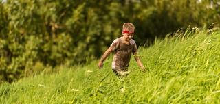 Walking through tall grass.