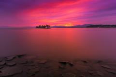 sunset 9742 (junjiaoyama) Tags: japan sunset sky light cloud weather landscape red purple pink orange yellow contrast color bright lake island water nature summer reflection calm dusk serene rock